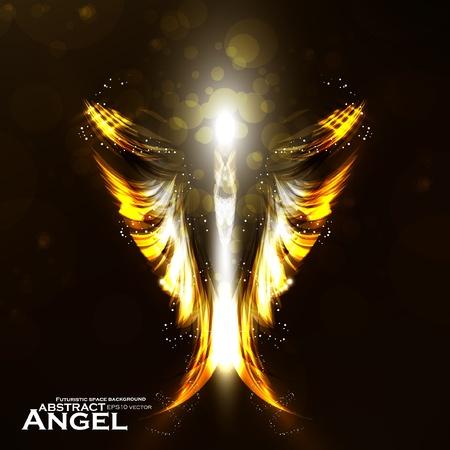 Angel vector futuristic background, wing illustration. Illustration