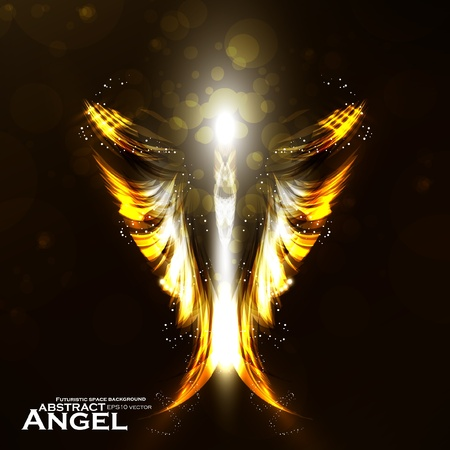 gothic angel: Angel vector futuristic background, wing illustration. Illustration