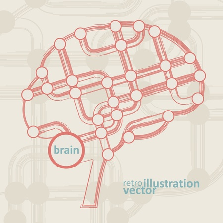 retro circuit board form of brain, technology illustration  Vector