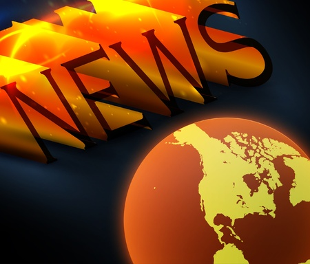 3d colorful news text with globe  Stock Vector - 12896331
