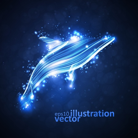 Neon dolphin, abstract futuristic strip, stylish illustration
