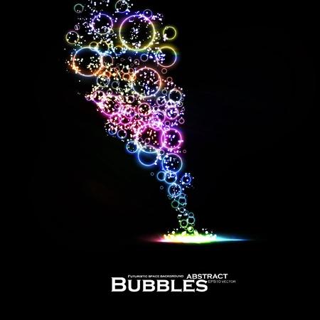 fond fluo: Abstract background de bulles lumi�res color�es, �l�ment dynamique. Illustration