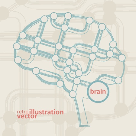 information systems: retro circuit board form of brain, technology illustration