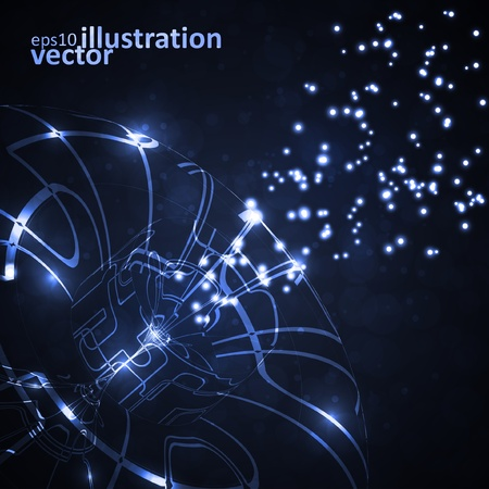 Abstract background, shiny space, technology illustration Vector