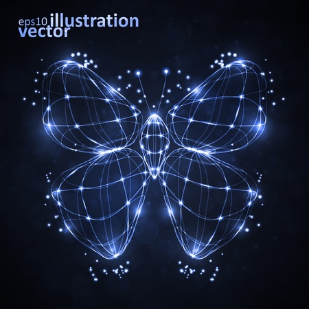 Shiny abstract butterfly, technology energy vector illustration eps10 Vector