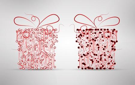 circuit board background, technology illustration, christmas gift illustration