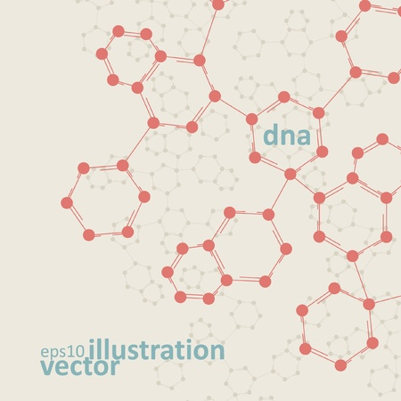 Retro dna, vintage molecule, cell illustration eps10 Vector