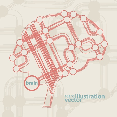 retro circuit board form of brain, technology illustration eps10 Vector