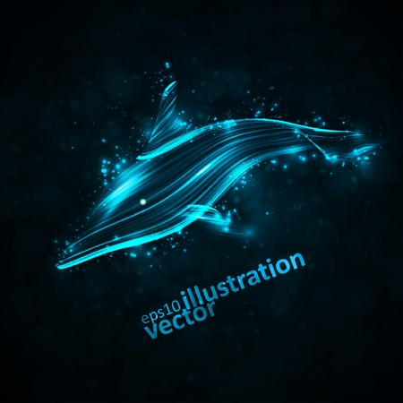 Neon dolphin, abstract futuristic strip, stylish illustration eps10 Vector