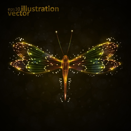 Shiny abstract dragonfly, technology energy vector illustration eps10 Vector