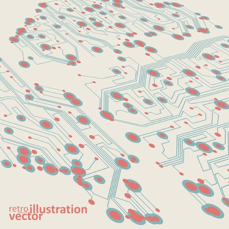 Retro circuit board vector background, vintage technology illustration eps10 Vector