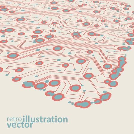 Retro circuit board vector background, vintage technology illustration eps10 Vector
