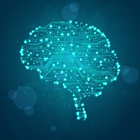 brain cells: circuit board background, technology illustration, form of brain