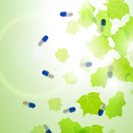 Medical pill capsules on colorful environment leaf background photo
