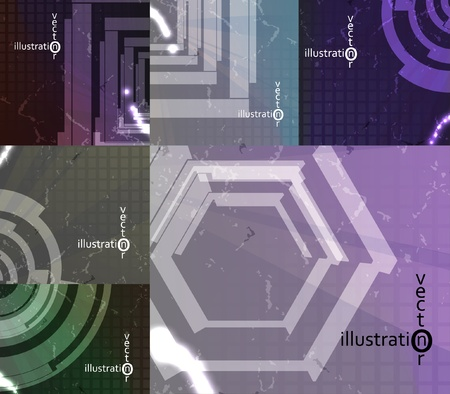 set for abstract vector background, technology futuristic illustration Stock Vector - 13195569