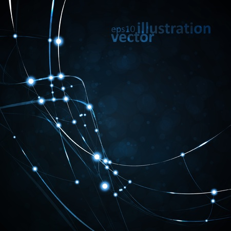 Abstract vector background, shiny space, futuristic wave illustration