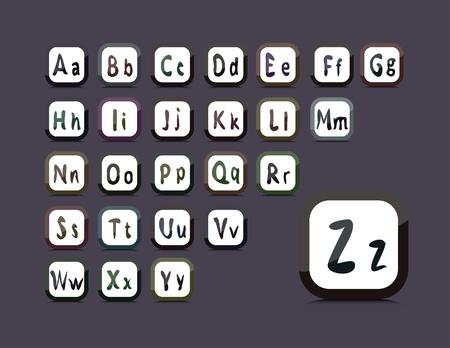 twenty six: editable English alphabet - collage of 26 buttons
