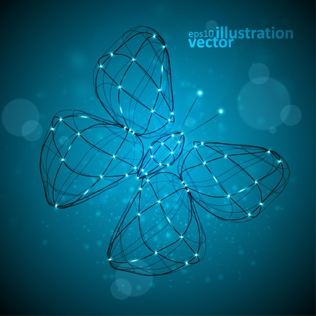 Shiny abstract butterfly, technology energy vector illustration  Vector