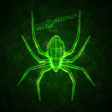 Abstract spider, technology energy vector illustration
