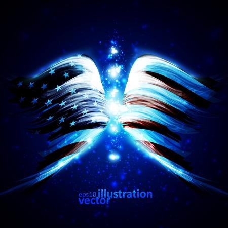 artificial wing: Ali d'angelo astratti con bandiera americana sullo sfondo dello spazio lucido, illustrazione vettoriale creativa