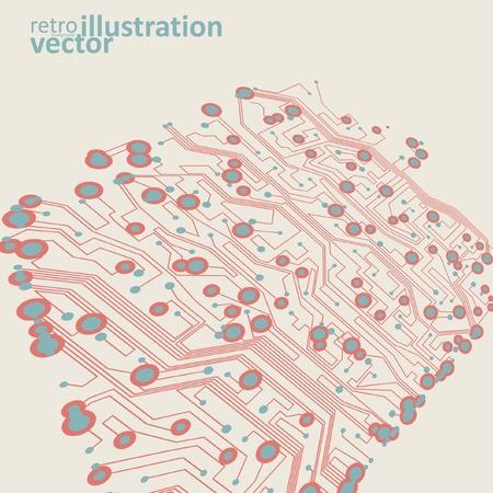 Retro circuit board vector background, vintage technology illustration Vector
