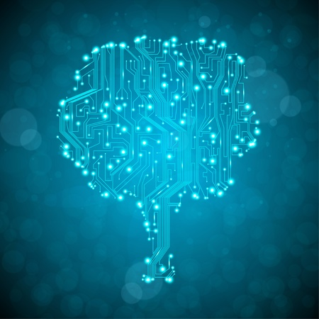 computer chip: circuit board background, technology illustration, form of tree