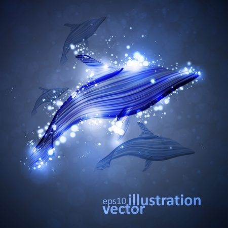 Neon dolphin, abstract futuristic strip, stylish illustration  Vector