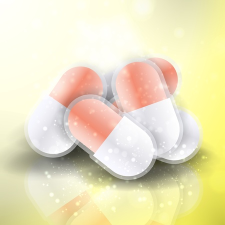 Medical pills - tablets illustration  on reflective surface, isolated objects illustration