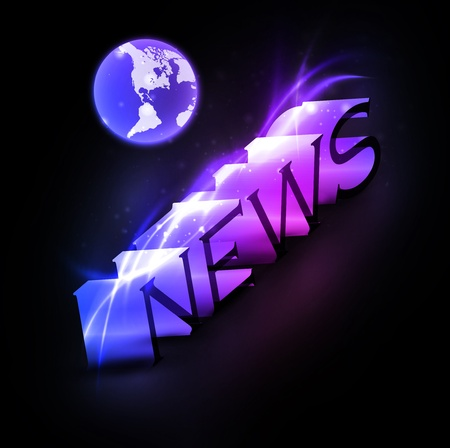 3d colorful news text with globe photo