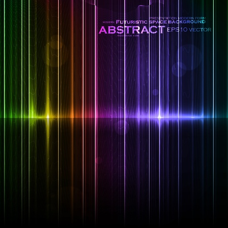 borealis: Technology template. Neon abstract, reflection lines vector backgrounds Illustration
