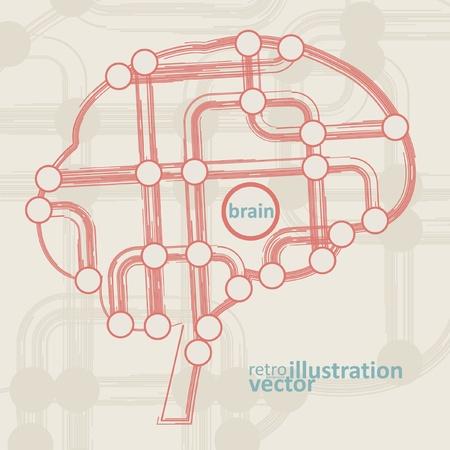 retro circuit board form of brain, technology illustration  Vector