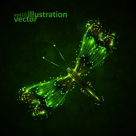 Shiny abstract dragonfly, technology energy vector illustration Vector