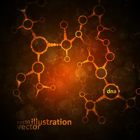 Futuristic dna, abstract molecule, cell illustration  Vector