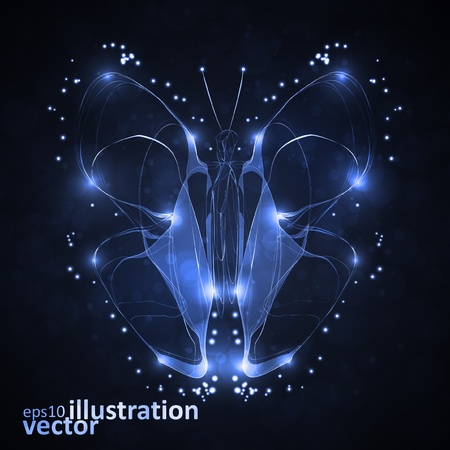 Shiny abstract butterfly, futuristic wave vector illustration eps10 Vector