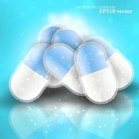 Medical pills - tablets illustration  on reflective surface, isolated objects Stock Vector - 13531970