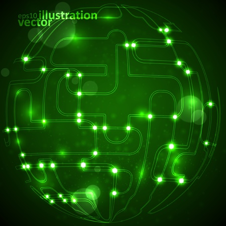Abstract background, circuit board form of ball, technology illustration Vector