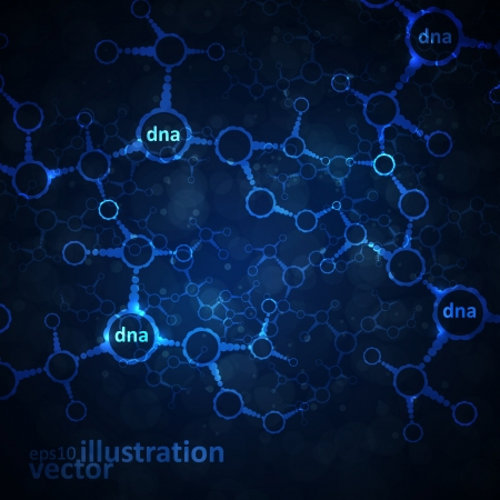 human chromosomes: Futuristic dna, abstract molecule, cell illustration Illustration