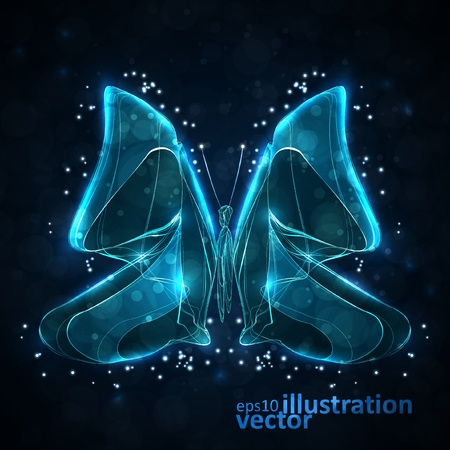 Shiny abstract butterfly, futuristic wave illustration Vector