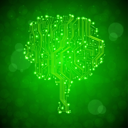 circuit board background, technology illustration, form of tree illustration