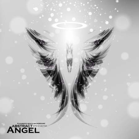 guardian angel: Angel futuristic background, wing illustration