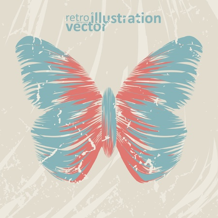 retro butterfly on old background, colorful abstract illustration eps10 Stock Vector - 13640108
