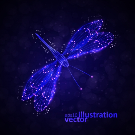 Shiny abstract dragonfly, technology energy  Vector