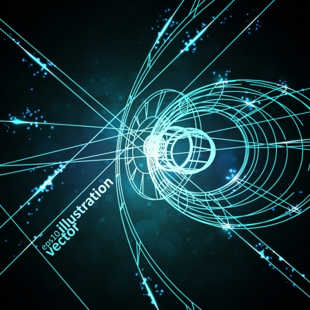 Abstract technology, technical drawing, shiny space background Vector