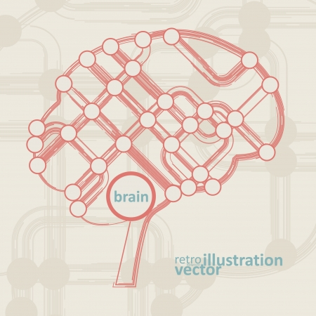 retro circuit board form of brain, technology illustration. Vector