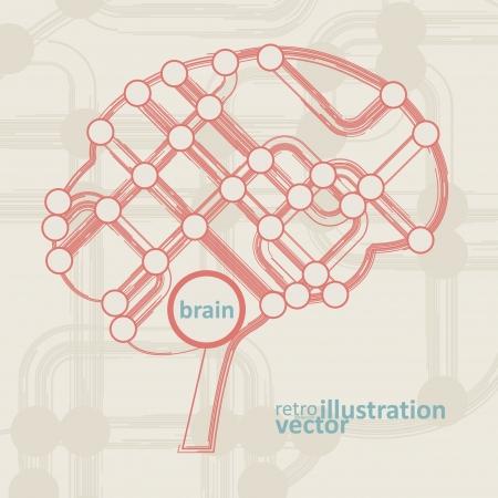 retro circuit board form of brain, technology illustration. Vector