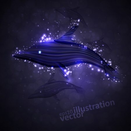 neon fish: Neon dolphin, abstract futuristic strip, stylish illustration.