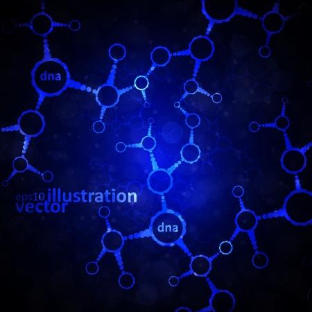 Futuristic dna, abstract molecule, cell illustration Stock Vector - 13742271