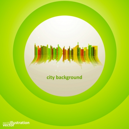 headquarter: Colorful city silhouette, background.