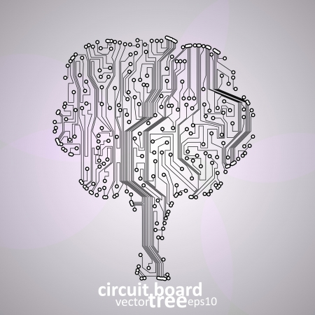 circuit board background, technology illustration, form of tree