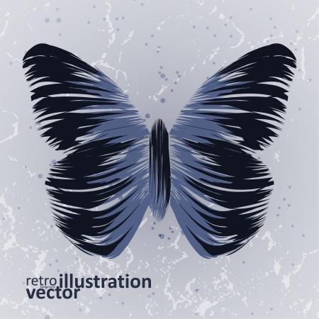 papillon rétro sur fond vieux, coloré illustration abstraite eps10